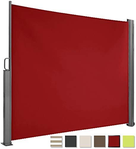 Brubaker Seitenmarkise Maui für Balkon und Terrasse - Ausziehbar - Aluminium - Bordeaux rot - 300 x 180 cm