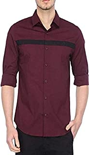 parth fashion Men's Cotton Casual Fancy Wine Shirt for Men Full Sleeves