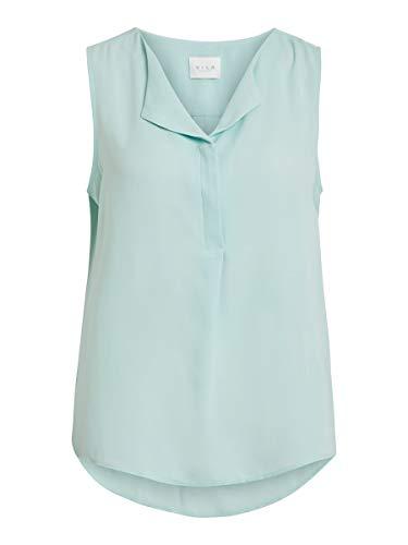 Vila Clothes Damen VILUCY S/L NOOS Top, Blau (Blue Haze Blue Haze), 40 (Herstellergröße: L)