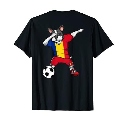 Dabbing French Bulldog Romania Soccer Fans Jersey Football T-Shirt
