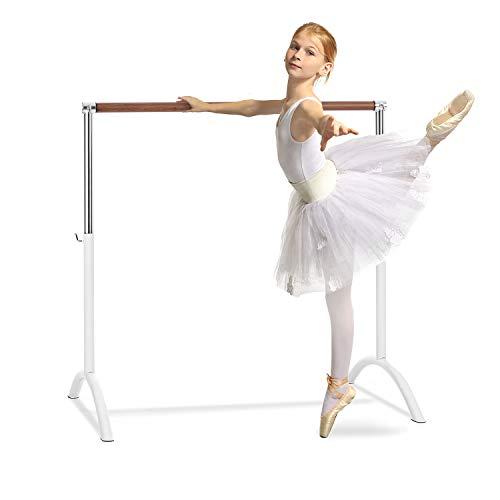 Klarfit Bar Lerina - Barra de Ballet móvil, Largo 110 cm, Altura Regulable 70-113 cm, Agarraderas de Bloqueo, Tubo de Acero con Recubrimiento en Polvo, Pies de Apoyo, Antideslizante, Blanco