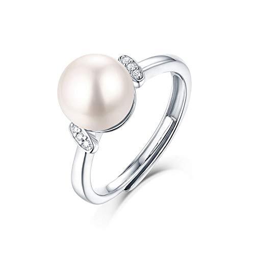 JIARU Anillo de plata de ley 925 para mujer, anillo de moda, simple y perla, anillo íntimo de la guardia, anillos de boda Moissanita para niña, anillo de regalo de dedo abierto