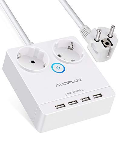 2-Fach Steckdosenleiste Überspannungsschutz 1050J, Reise Mehrfachsteckdose (2500W/10A) mit 4 USB Ports (5V/3.1A) Schreibtisch Steckdosen mit 1.5m Kabel für iPhones, Tablets, Laptops und TVs