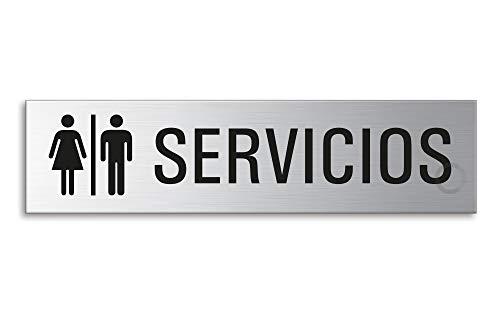 Placa para Puerta – Servicios Señoras y Señores   Señal Acero Inoxidable con Pictograma 160 x 40 mm   Ofform Original Producto No.27125