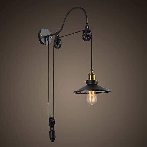FANPING Industrial E27 Edison pared retro Lámpara ajustable de metal 1 hierro luz lámpara de pared Luz Disponible elevación arriba y abajo de la polea con la lente cubierta de la lámpara Cocina Bar Al