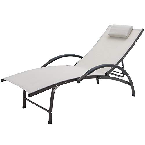 Crestlive Products Outdoor Reclining Chaise Lounge Chair, Aluminum Adjustable Portable Sun Tanning Lounge Chair, All Weather Furniture in Brown Finish for Lawn, Beach, Patio, Deck, Poolside (Tan)
