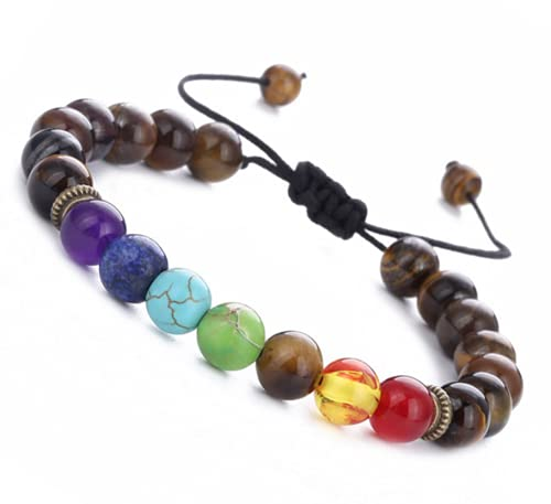 Tiger Eye Stone 7 Chakras Pulseras De Aceite Aroma con Cuentas, Yoga Mediación Cuentas Reiki Buda Pulsera Ajustable para Mujeres Hombres