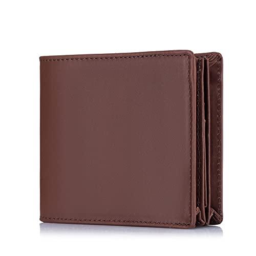 Roulens Herren-Geldbörsen Leder mit RFID Schutz - Echtleder Portemonnaie - Bifold Geldbeutel Herren - 100% Rindleder -Portemonnaie für Männer mit Geschenk Box - Querformat