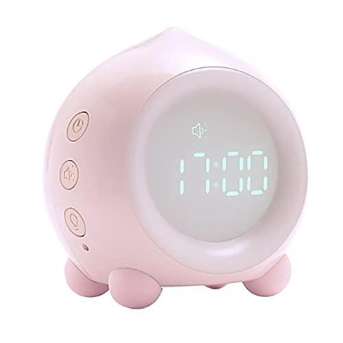 目覚まし時計 ライト ベッド サイド ランプ アラーム 時計 インテリジェントナイトライト Alarm Clock カラフルなライト Bluetooth ABS 6 着メロ 調節可能なボリューム 子供用,Pink