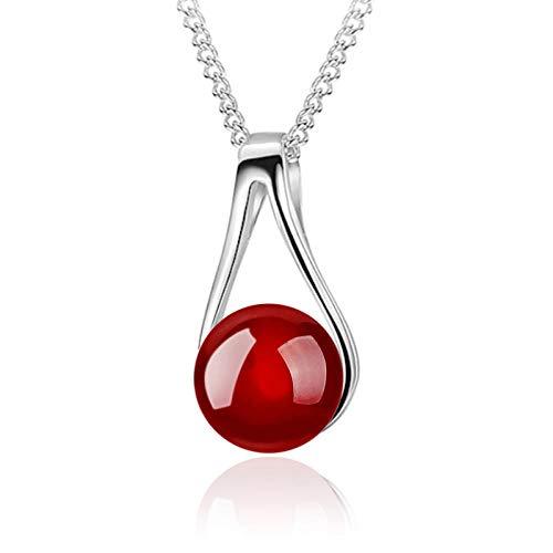 LKHJ 925 Plata esterlina Mujer joyería de Moda Cristal circón Perla ágata Colgante Collar Longitud 45 cm-Rojo