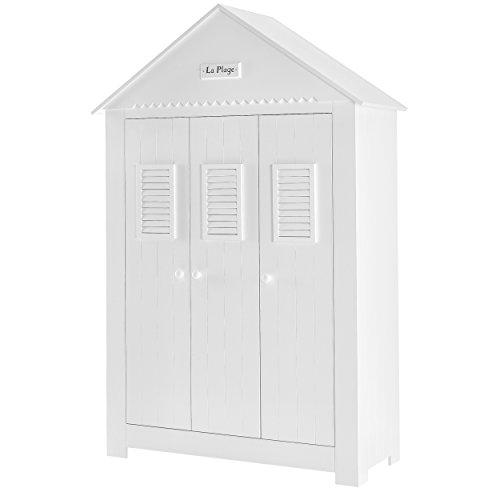 Kinder Kleiderschrank 3-türig Schrank Kinderzimmerschrank MARSYLIA MDF 145x54,5x216cm weiß