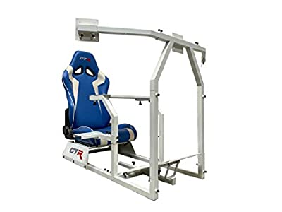 GTR Simulator GTAF-WHT-S105LBLWHT - GTA-F Model (White) Triple or Single Monitor Stand with Blue/White Adjustable Leatherette Seat, Racing Simulator Cockpit Gaming Chair Single Monitor Stand
