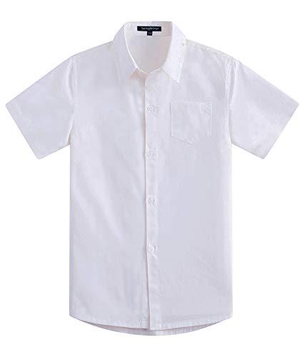 Spring&Gege Jungen Kurzarm Einfarbig Formale Baumwoll Hemden Klassisch Schuluniform Shirts für Kinder, Weiß, 13-14 Jahre