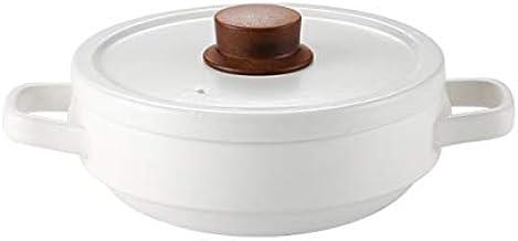WZWHJ Household Gas Casserole High Temperature Resistant Pot, Ceramic Casserole Shallow Pot Gas Cooking Pot, White