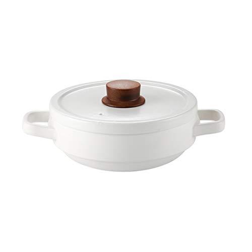 ZLDGYG Cazuela de Gas para el hogar Olla Resistente a Altas temperaturas, Cacerola de cerámica Olla Poco Profunda Olla de Cocina a Gas, Blanco