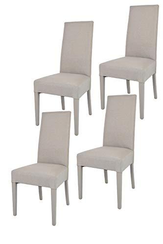 Tommychairs - Set 4 sillas Chiara para Cocina, Comedor, Bar y Restaurante, solida Estructura en Madera de Haya y Asiento tapizado en Tejido Color Gamuza