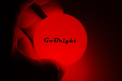 GoBright Red LED Light Up Golf Balls - Ultra Bright Glow in The Dark Night Golf Balls (Pack of 6)