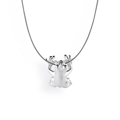 Drachenfels Design - Ciondolo con pietra, per donna, rana in argento 925 - D FR 63/AG