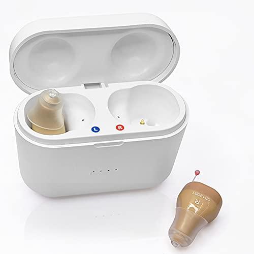 FR&RF Audífono Audífono Recargable Inteligente Mini Dispositivo auditivo audífono Interno para Amplificador de Sonido Anciano con Caja de Carga