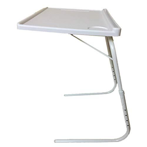 Mesa Plegable Auxiliar, Mesa portatil con sujeción para Tablet Vaso y bolígrafo Mesa Auxiliar Plegable de salón para lámparas Altura 3 ajustes (Auxiliar)