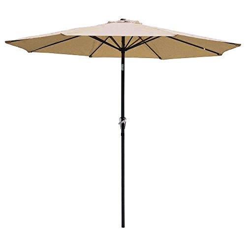 Yescom 9ft Aluminum Outdoor Patio Tan Umbrella w/Crank Tilt Deck Market Yard Beach Pool Cafe Decor