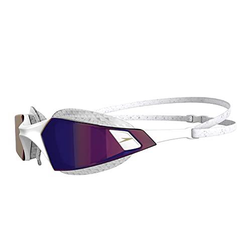 Speedo Aquapulse PRO Mirror, Occhialini da Nuoto Unisex-Adult, Bianco/Viola, Taglia Unica