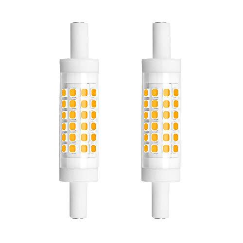 Bonlux Dimmable 78mm R7S LED Light Bulb - Double Ended J78 T3 R7S LED Floodlight - 5W (45W Halogen Bulb Equivalent) Warm White 3000K for Floor Lamp, Workshop Lighting (2-Pack)