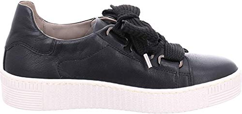 Gabor Damen Low-Top Sneaker 33.330, Frauen Sneaker,Halbschuh,Schnürschuh,Strassenschuh,Business,Freizeit,schwarz (beige),40 EU / 6.5 UK