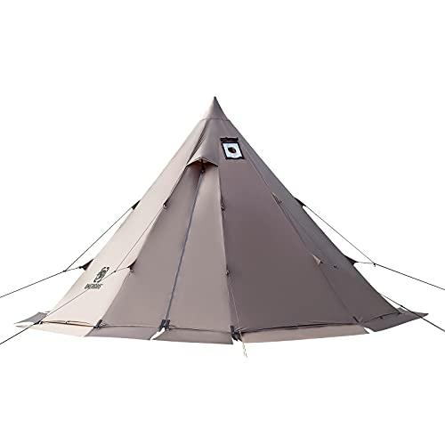 OneTigris Zelt Tipi Zelt Firstzelte für 4-6 Personen Pyramidenzelt mit Zeltstange 4 Jahrzeit Campingzelt 3000 mm Wassersäule für Outdoor, Camping, Wandern, Trekking