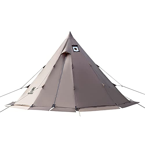OneTigris Rock Fortress Hot Tent with Stove Jack, 6 Person, 4 Season Tipi Tent for Family Camping...