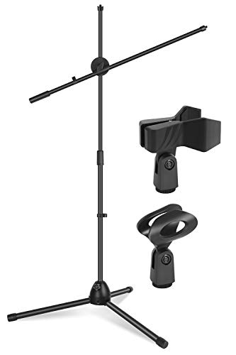 InnoGear Microphone Stand, Upgraded Mic Stand with Dual Mic Clip Holders Heavy Metal Base Adjustable Collapsible Tripod Boom Stands