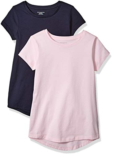 Amazon Essentials Girls' 2-pack Tunic T-Shirt, Navy Blazer/Cherry Blossom, M