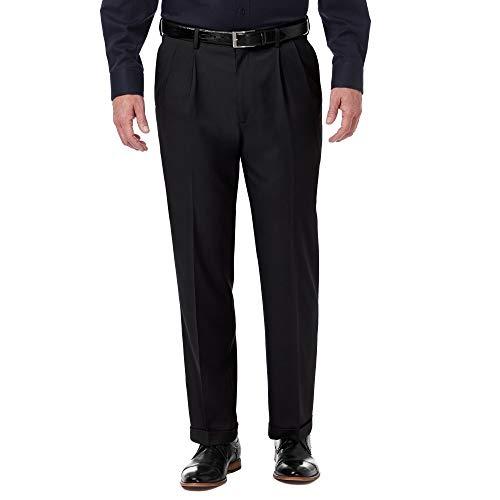 Haggar Men's Premium Comfort Classic Fit Pleat Expandable Waist Pant, Black, 38Wx32L