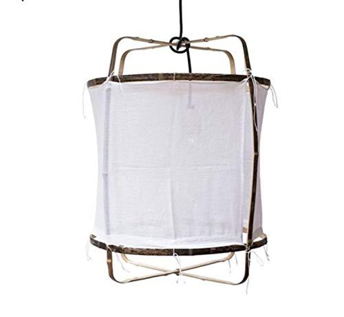 Lampara Lámpara Del Techo Lámpara Colgante Araña De Luces Luz De Techo Japonés Minimalista De Lino De Bambú Tejido A Mano Led Luz...