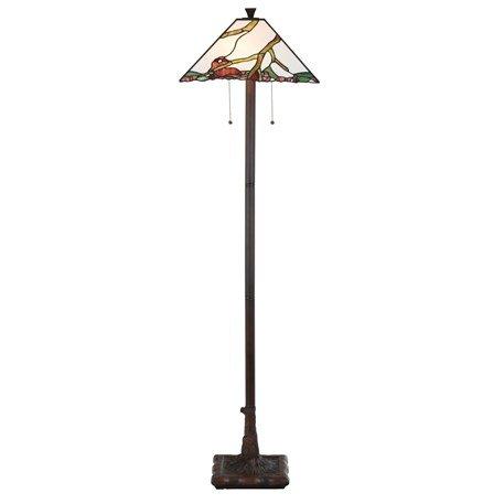 Art Deco: Tiffany Vloerlamp Exotische esdoorn