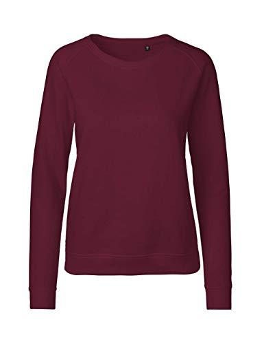 Green Cat- Damen Sweatshirt, 100% Bio-Baumwolle. Fairtrade, Oeko-Tex und Ecolabel Zertifiziert, Textilfarbe: Bordeaux, Gr.: M