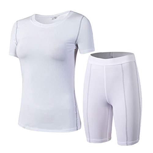 Damen Sportbekleidung Kompression Shirt Gym Shorts Fit Coole Trockenend Sportswear Training Outdoor Joggen Yoga Radsport (Color : Weiß, Size : M)