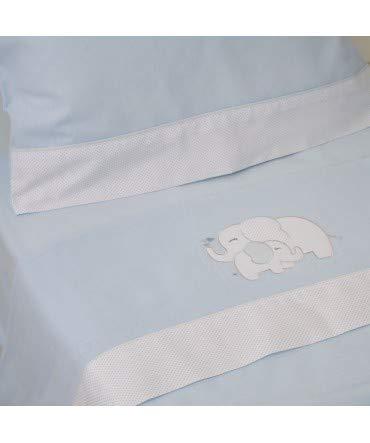 10XDIEZ Juego de sábanas Cuna Franela Elefante Azul - Medidas sabanas bebé - Cuna (60x120cm)