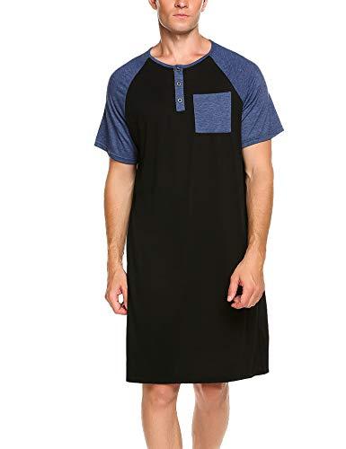 Meaneor Herren Nachthemd Einteiliger Schlafanzug Nachtwäsche Schlafkleid Kurzarm...