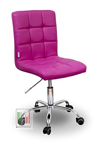 Stil Sedie - Sedia Girevole scrivania Ufficio ergonomica Imbottita - Sedia Studio Regolabile con Ruote Colore (Fuxia)