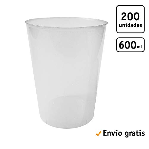 TELEVASO - 200 Unidades - Vaso Sidra 600 ml Reutilizable - Polipropileno (PP) - Color traslúcido - Vaso ecológico Libre de BPA, Ideal para Cerveza, cubatas, Agua