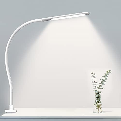 Hokone Lámpara LED de Escritorio, Lámpara de Trabajo,Lámpara de Mesa de Oficina con Control Táctil, 3 * 10 Modos de Brillo, Protección para Ojos, Lámpara de 10W con Pinza, Blanco