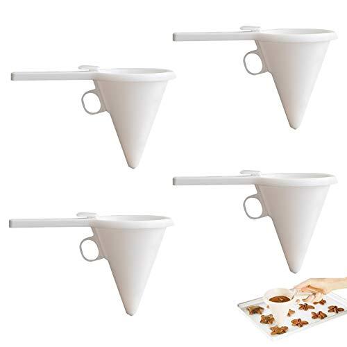 LIMEOW Embudo para panqueques Dosificador de Chocolate Dispensador de Masa Dispensador de Masa de Taza Herramienta de horneado 4 Piezas para Pasteles postres Utensilios de Cocina Accesorios-Blanco