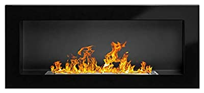 Bio Ethanol Fire BioFire Fireplace Modern 900 x 400 High gloss black
