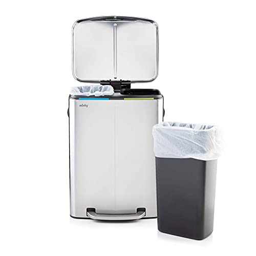Minky Stainless Steel 40Ltr Recycling Bin with Finger Print Proof Coating 2 Compartment Waste