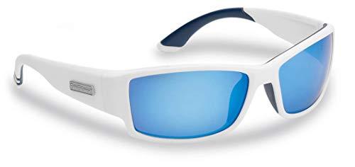 Flying Fisherman Razor Polarized Sunglasses with AcuTint UV Blocker for Fishing and Outdoor Sports, Matte White Frames/Smoke-Blue Mirror Lenses