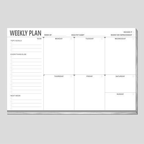 Planificador semanal de computadora lista de notas para lista de tareas con rastreador de hábitos y montaje de imán para nevera clóset (90 hojas de 23 x 15 cm)