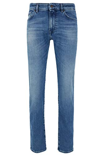 BOSS Herren Maine BC-C Regular-Fit Jeans aus Stretch-Denim in Used-Optik