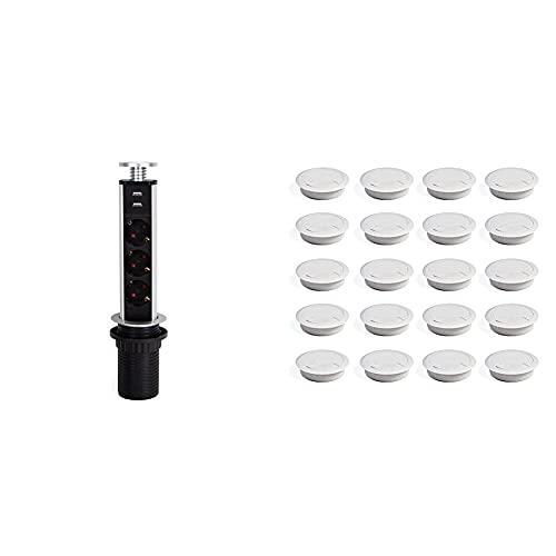 Emuca 5009925 Regleta Multienchufe Retráctil con 3 Schuko EU Y 2 Puertos USB, Torre De Enchufes Vertical Empotrable + 3196315 Lote De 20 Pasacables Circulares Diámetro