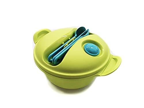 TUPPERWARE To Go Salat & Go 1,5L limette Hot Food+Besteck Picknick Mikrowelle 9906